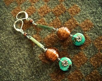 Turquoise earrings, Patinated Brass, Luster beads, Copper filigree, Dangle, Drop, Rustic, Boho, Southwestern, OOAK, Free Shipping