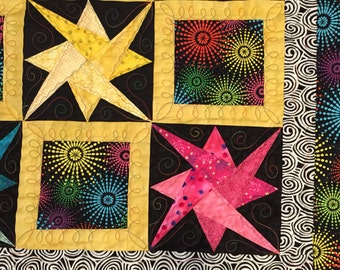 Paper Pieced Star Lap or Baby Quilt Vibrant Colors (Pink,Yellow, Blue and black)