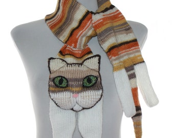 Knitted Scarf / rufous Scarf / tabby cat scarf / knit cat scarf /  animal scarf
