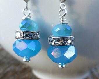 Ten Dollar Earrings! Aqua Blue Faceted Glass Swarovski Rhinestone Rondells