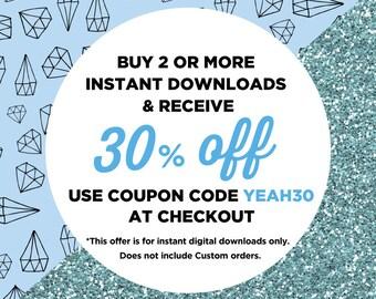 30% Discount Coupon Instant Downloads, Buy 2, DIY Party Favors Sale, Monogram Print, Instant Downloads Discount Nursery DIY Print Sale