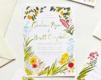 Miami Botanical Garden Wedding - Hand-painted custom stationery, invitation, rsvp, rehearsal dinner invite