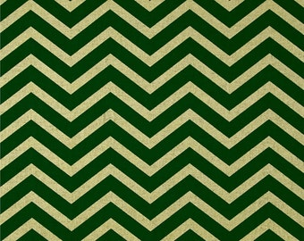Holiday Table Runner in Spearmint Green & Metallic Gold Chevron / Ready to Ship