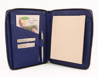 MAIDEN- A5 Leather Compendium, Full Leather, Multiple Pockets, Zip Closure, Personalized & Cocoa Paper Note Pad.