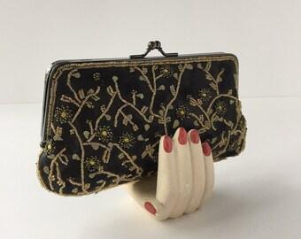 Lancome Bag, Vintage Beaded Clutch, Black Embroidered Bag, Convertible Evening Bag, Formal Shoulder Bag, Black and Gold Satin Clutch,