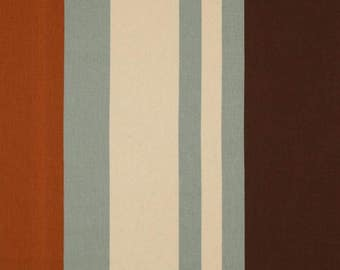 SUMMER SALE! Vertical Stripe Designer Curtain Panels 24W or 50W x 63, 84, 90, 96 or 108L Wilson Collection in Rust, Blue, Natural, Brown