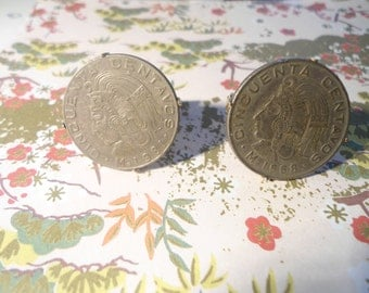 1 Pair of Goldplated Mexican Cinquenta Centavos Coin Cufflinks