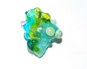 Aqua Bliss Fantasy Seashell Lampwork Glass Bead for Jewelry Design Necklace Bracelet Pendant Amulet