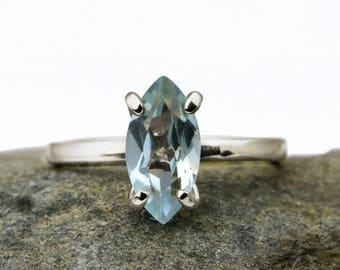 SUMMER SALE - Blue topaz silver ring,marquise ring,stacking ring,gemstone ring,topaz ring,sterling ring,stack ring,small ring