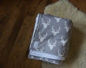 Organic Blanket, Antlers in Dove Gray, swaddle, crib, playmat for baby or child