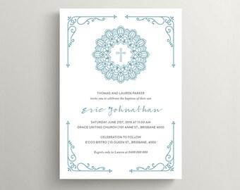 Christening Invitation \ Baptism Invitation \ Boy Invitation \ Printable Invitation \ Blue Invite (CH18)