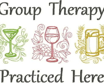 Embroidered Flour Sack Towel or Huck Towel - Group Therapy Practiced Here