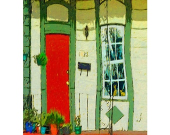 Whimsical Orange Cats Window, Colorful New Orleans House Giclee Print 8x10 11x14 - For Goodness Sake Dont Let the Cats Out - Korpita