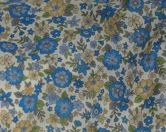Vintage Blue Cotton Fleuri Voile Fabric from Frou Frou, Paris