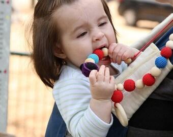 Christmas Sale Organic Crochet Nursing necklace, Amigurumi Ladybug toy necklace, wooden ring pendant, Breastfeeding teething toy