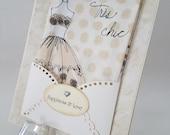 Retro-Style Handkerchief Wedding Bridal Keepsake Gift Paris Chic Fashion Diva Graduation Congratulations Mother's Day Hanky Greeting Card