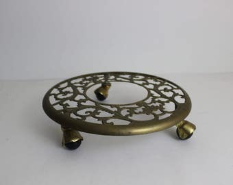 Vintage Brass Plant Stand Pot Stand Rolling Plant Stand