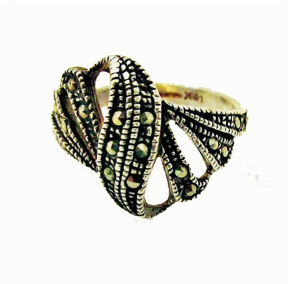 Sterling Ring  - Silver Swirl - Pyrite  Marcasite - Mexico Signed - size 9  band