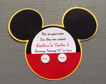 NEW***Custom Handmade Inspired Mickey Mouse invitations with real buttons and Yellow shadow!!!