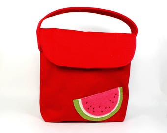lunch tote for kids | lunch bag | organic canvas tote | school lunch bag | kid snack tote | red snack tote | watermelon applique | lunch box