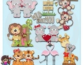 2017 Wild About You Valentine Clip art  Clipart Graphics  Commercial Use