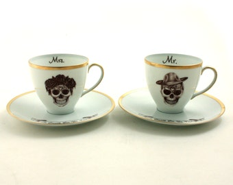 2 Set Altered Sugar Skull Vintage Cups Porcelain Mr. Mrs. Till Death Do Us Part Day of the Dead Mexico Anniversary Wedding Gift Halloween