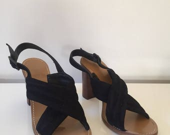 JCrew Stacked Heel Mules