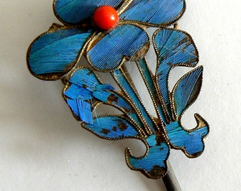 Qing Dynasty Kingfisher Feather Hair Pin AntiqueVINTAGE 19th Century China Coral