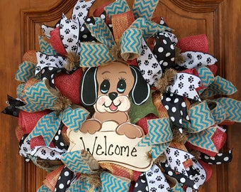 Puppy Love Welcome Wreath, Everyday Wreath, Dog Lovers Wreath, Doggie Decor, Front Door Decor