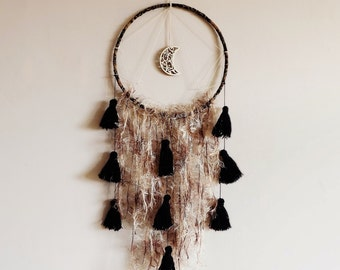 Boho dream catcher, wall hanging, moon, dreamcatcher, large, moon decor, nursery, handmade, bedroom decor, wall decor, large dreamcatcher