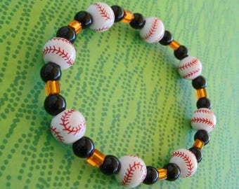 Baseball, Baseball, Baseball SF Giants Fan Orange Glass and Black Stone Bracelet FREE SHIPPING