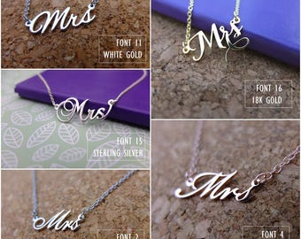 Name Necklace-Custom Name Necklace-Personalized Name Necklace-Custom Name Gift-Mrs Necklace-Sterling name necklace-Wedding Gift. #NMrs