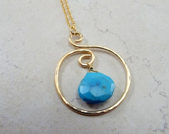 Sleeping Beauty Turquoise Pendant Necklace 14K Gold Filled