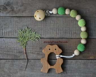 Pacifier chain,Holder with wooden frog toy,Dummy clip with teething toy,Wood bear teether,Pacifier chain,Beaded pacifier clip