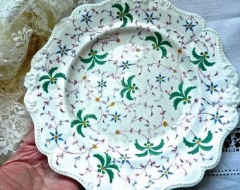 Antique Plate - Serving Plate - Antique Porcelain - Hand Painted - Floral Pattern - Wall Plate - Collectible - English Country - Cake Plate