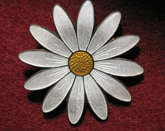 "Vintage Aksel HOLMSEN Norway GUILLOCHE Enamel DAISY Flower Pin -- Yellow and White Enamel on Sterling Silver. Almost 2"" Diameter"
