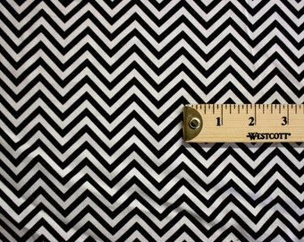"Black And White Chevron Vintage Cotton Fabric 41"" Wide 15 Yards Wholesale"