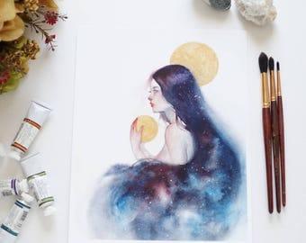 "Art print ""Dearest Night"" watercolor painting / illustration"