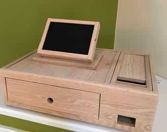 Custom  Oak Cash Box and Tilting iPad Stand
