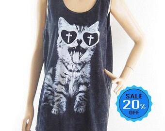 Cat Shirt Cat Tank meow shirt funny tees hipster graphic shirt men tank women tank top bleached black shirt singlet sleeveless unisex Size M