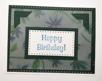Handmade cards - birthday cards - flower cards - vellum cards - just a note - indigo blue