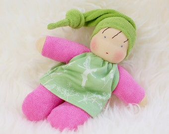 Pia, waldorf inspired doll, cuddle doll, Babies first friend, natural toy