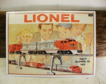 Lionel Trains Sign Embossed Train Collector Bedroom Decor Sante Fe Family