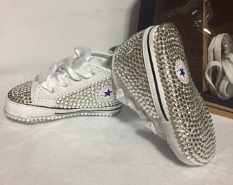 SALE Baby girl infant size 3 converse bling swarovski white leather crib shoes