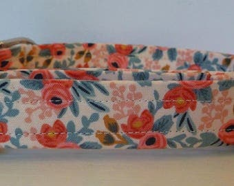 "Dog Collar - Vintage Inspired Peach & Coral Floral Dog Collar ""Amber"" - Free Colored Buckle"