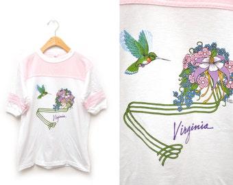 80s Hummingbird Virginia T-shirt Sporty Women's Size Medium Pink White Ringer