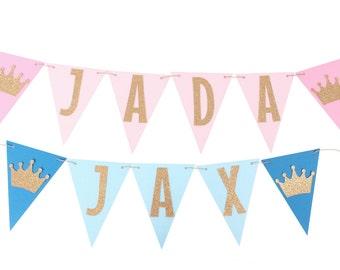 Prince Name Banner / Princess Name Banner / Prince First Birthday / Princess First Birthday / Prince Banner / Princess Banner