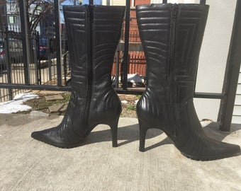 Nine West Black Leather Stiletto Zip Up Boots 90s y2k Cyberpunk