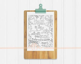 Instant Download - Proverbs 3:5 Coloring Page