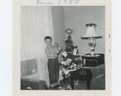 Vintage Snapshot Photo: Boy with New Xmas Doll, 1955 (610512)